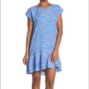 Joie Coreen Cornflower Ruffle Hem Tiered Dress